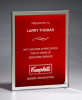 Glass Plaque with Red Center and Mirror Border Square Rectangle Awards
