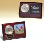 Rosewood Piano Finish Desk Clock with 3 X 3 Photo Area Achievement Awards