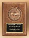 American Walnut Plaque with Handshake Casting Cast Relief Plaques