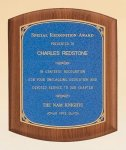 American Walnut Plaque with Linen Textured Plate Patriotic Awards