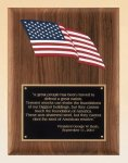 American Walnut Plaque with an American Flag Patriotic Awards