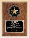 American Walnut Plaque with 5 Star Medallion Walnut Plaques